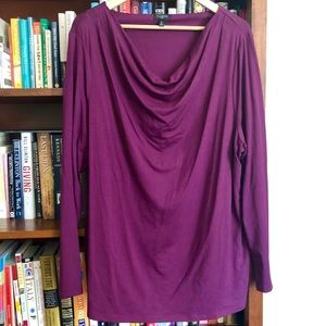 Talbots purple cowl-neck long sleeve blouse.